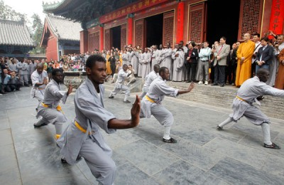 Africans learning kung fu