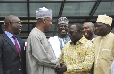 Bukola Saraki with members of the Nigerian Labour Congress