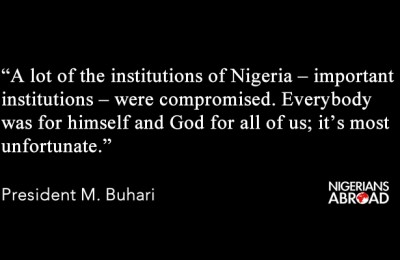 Quote card - President Buhari on corrupt institution